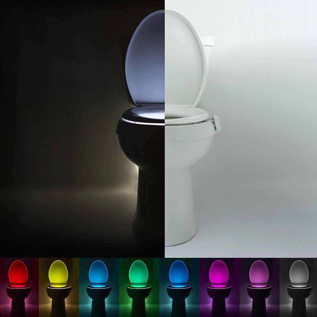 Flying Rabbit Drei Arten WC Nachtlicht LED Toilette Licht Lampe Sitz Beleuchtung mit Lichtsensor Bewegungssensor Batteriebetriebenes Toilettenlicht fü r Kinder Eltern Badezimmer Hause (8 colors)