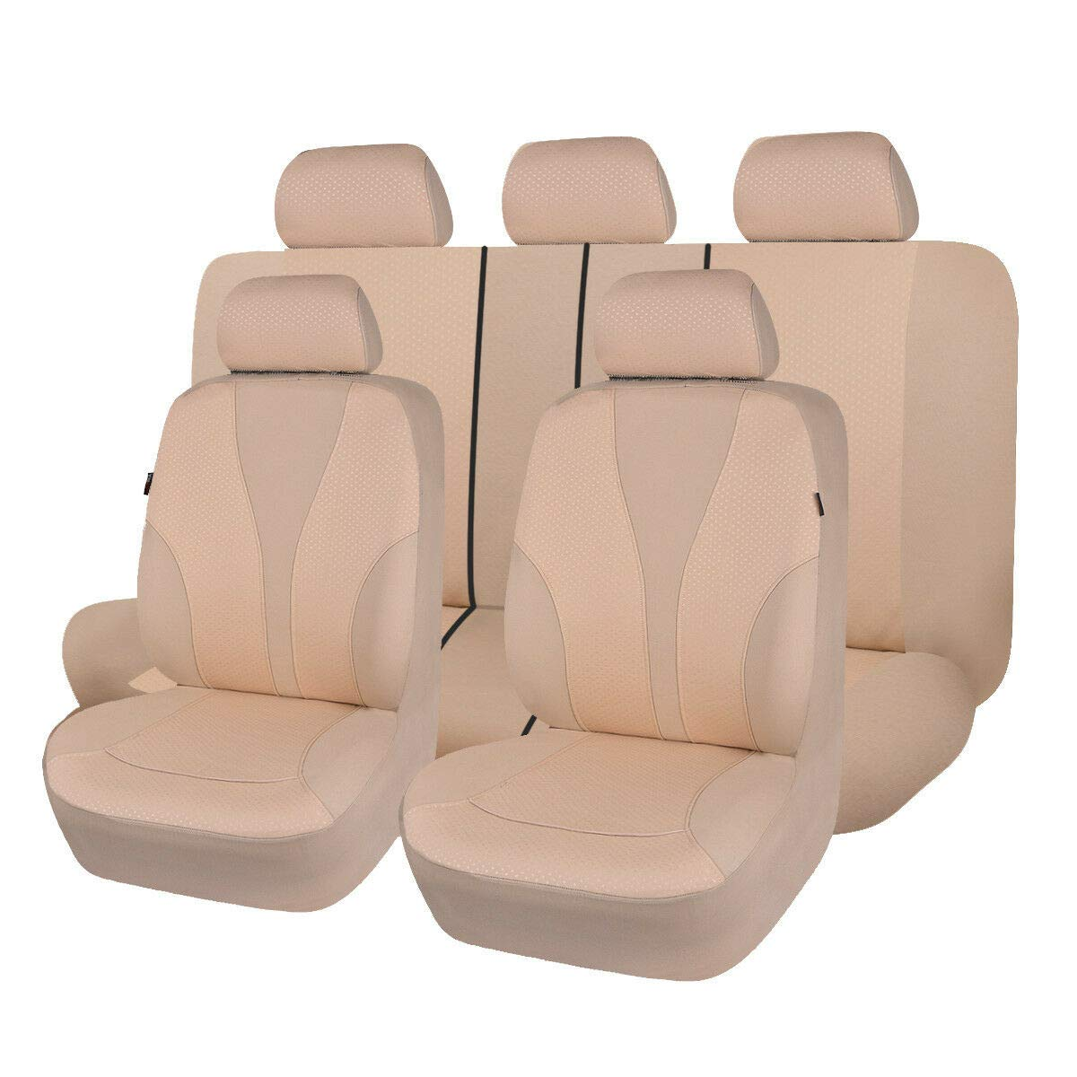 Polyester Fabric Beige 031-Style Universal fit Most Car,Truck,SUV and Van Flying Banner 9 PCS Car Seat Covers Full Cover Hot Stamp Breathable Composite Sponge Inside Airbag Compatible