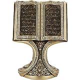Beautiful Quran Ayat Kursi Nazar Ayah Gold Book Clear Crystal Molded 6-1/4 x 4-1/4in Ornament - Moslem Islamic Art