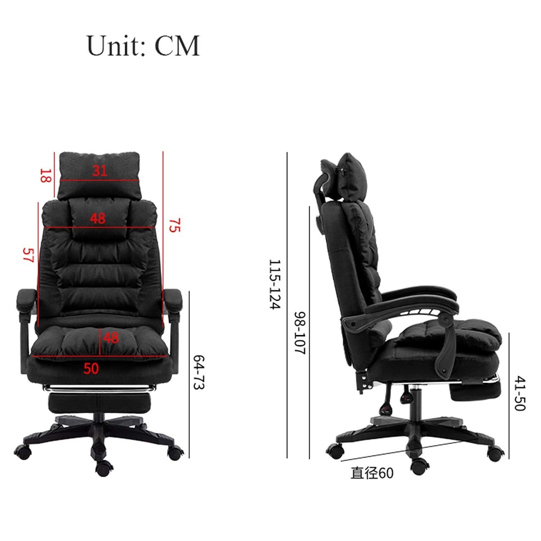 YYL kontorsstol kontorsstol, hög rygg ergonomisk datorstol, fritid verkställande svärstol med nackstöd svängbar stol (färg: Brun) Grått