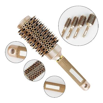 Cepillo de pelo redondo, de cerdas de jabalí, con cerámica nanotérmica para secado,