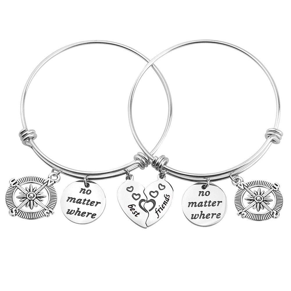 bobauna Best Friends No Matter Where Compass Split Broken Heart Expandable Bracelets Set Long Distance Gift for BFF Sister