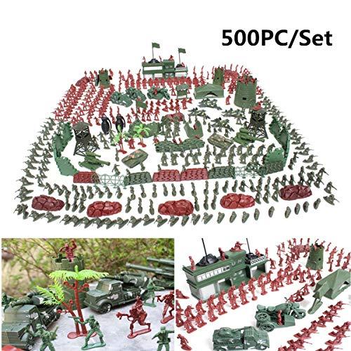 TRETRI 500Pcs/Set Plastic Soldier Model Toy Army Men Figures Playset Toys Decor - Pug Kids Pully Toys