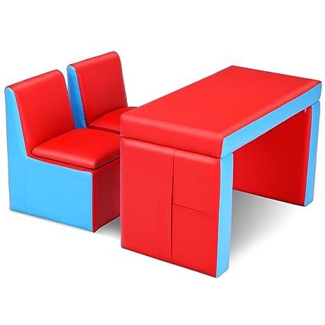 Amazon Com Svitlife Multi Functional Kids Sofa Table Chair Set