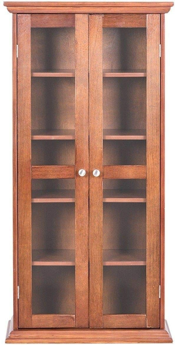 Globe House Products GHP 22''x9.5''x44.5'' Antique Walnut Wood Glass Multi-Functional Tower CD DVD Cabinet