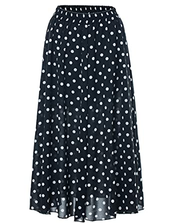039987df21 IDEALSANXUN Women's Summer Boho Polka Dots High Waist Elastic Chiffon Long  Maxi Skirt (Black,