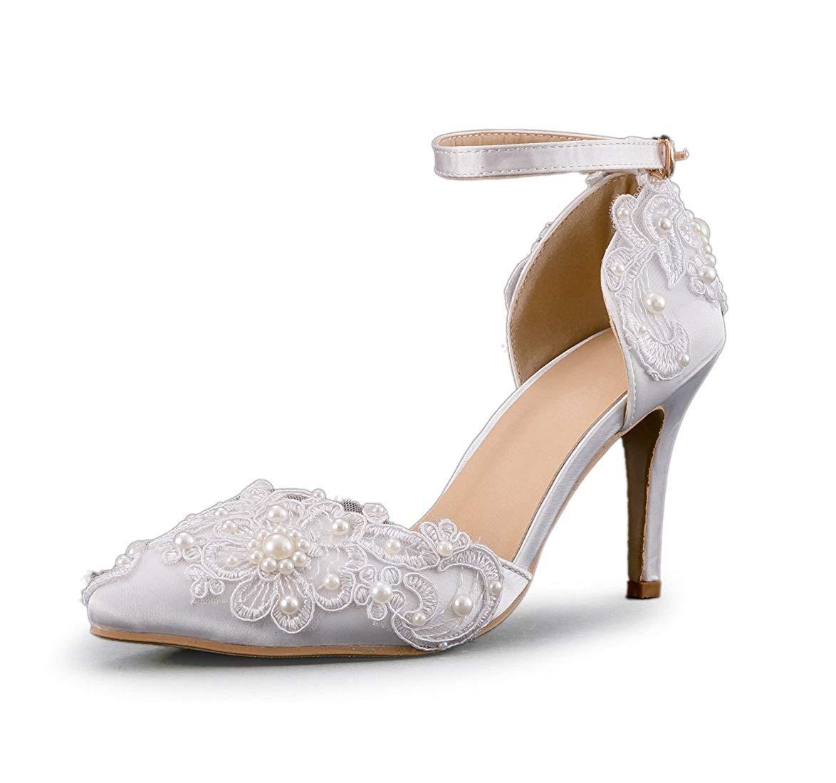 Qiusa Frauen Handmade Applique Applique Applique Satin Braut Hochzeit Schuhe (Farbe   Ivory-9cm Heel Größe   4 UK) fff076