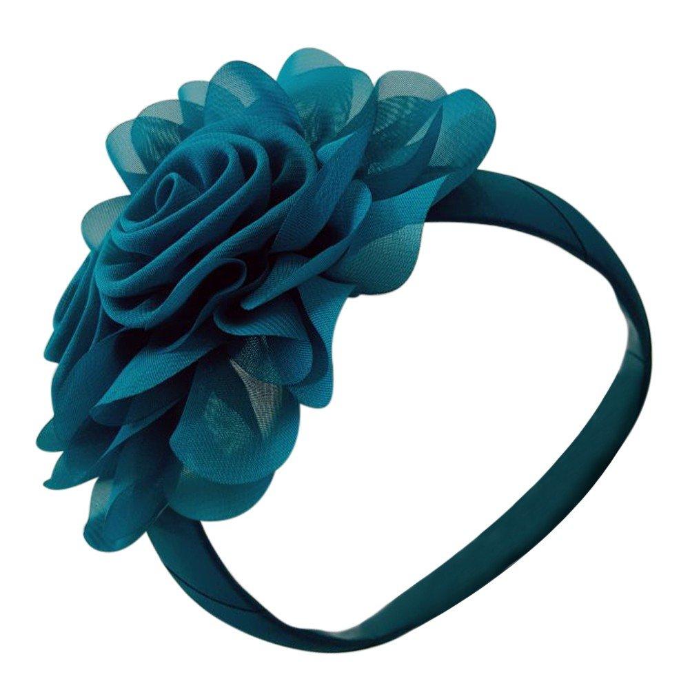 Girls Teal Oversize Fabric Flower Hair Headband Fancy Diadem