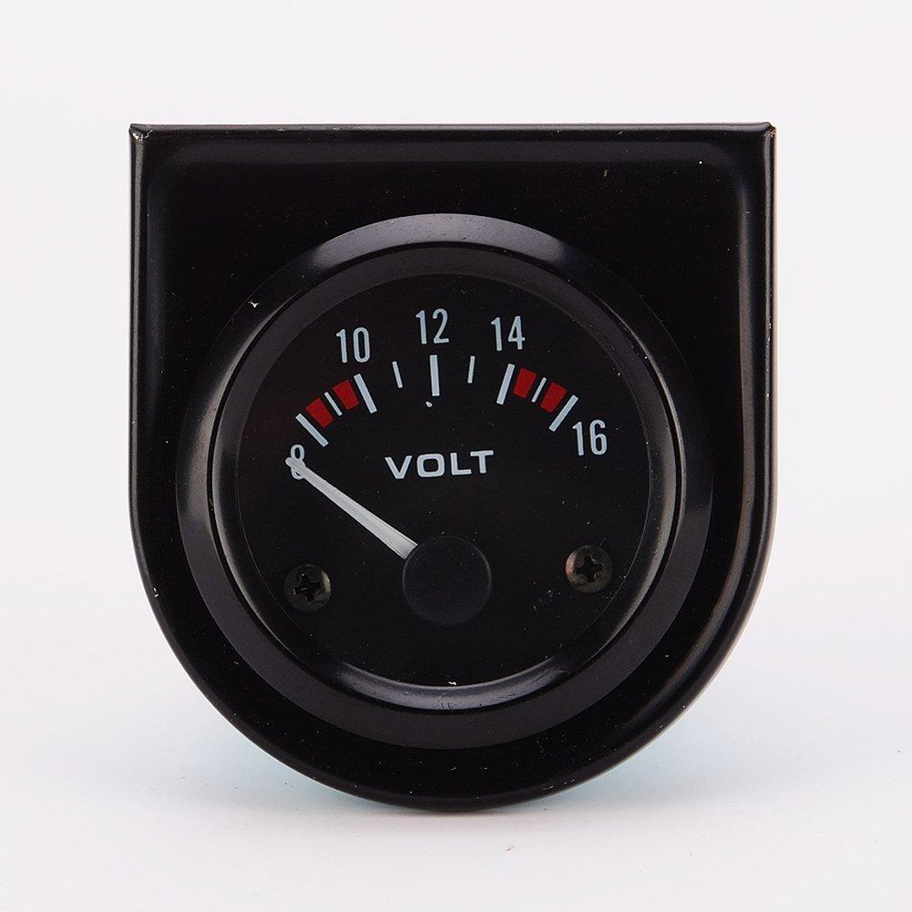 Universal pointer12v 2'' 52mm Volt Voltage Meter Gauge Voltmeter Car Auto Measure Range 8-16v LED light dial black by liangxie