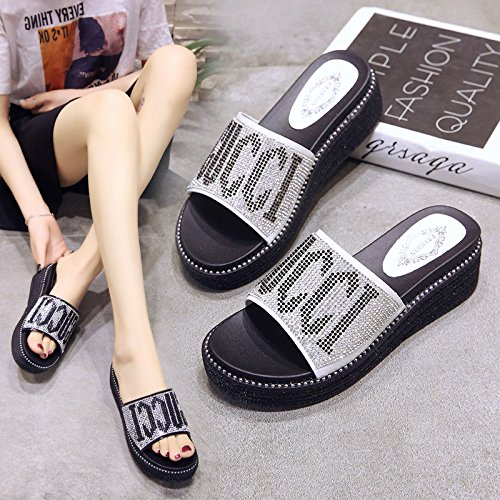 Wear Flat Drag Leisure Bottom And Thick Indoor WHLShoes Bottom Diamond Slippers Outdoor Cool Women'S Sandals Word Comfortable Comfortable Black One xxBqwSPC