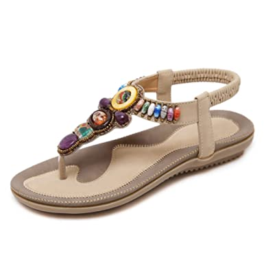 Frauen Strass Bead Sandalen Bohemian Style Clip Toe Strand Schuhe Elastische T-Strap Flip Flops Post Thong Reisen