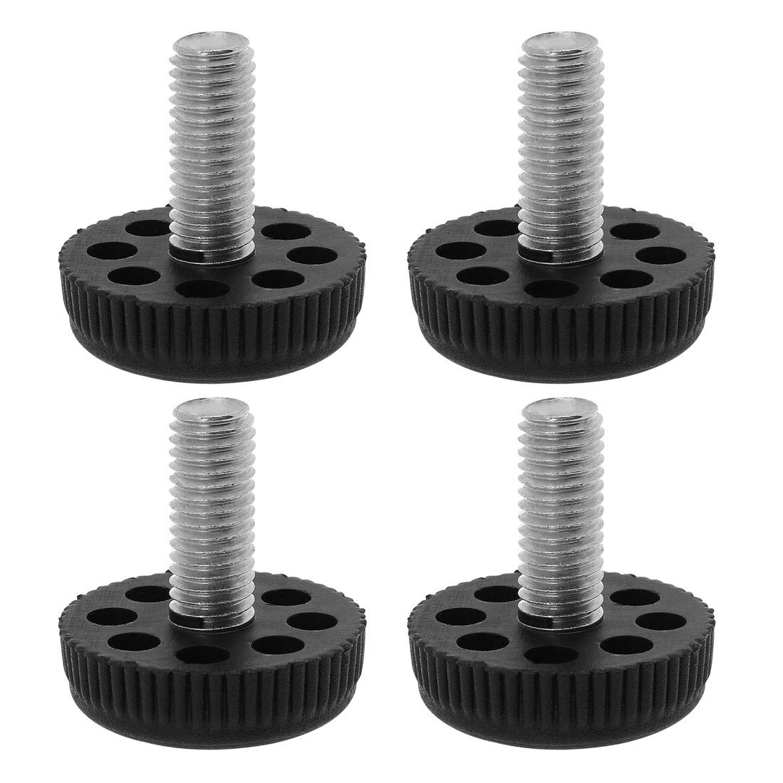 uxcell M10 x 25 x 35mm Screw on Leveling Feet Adjustable Leveler Floor Protector for Home Furniture Desk Table Sofa Leg 24 Pack
