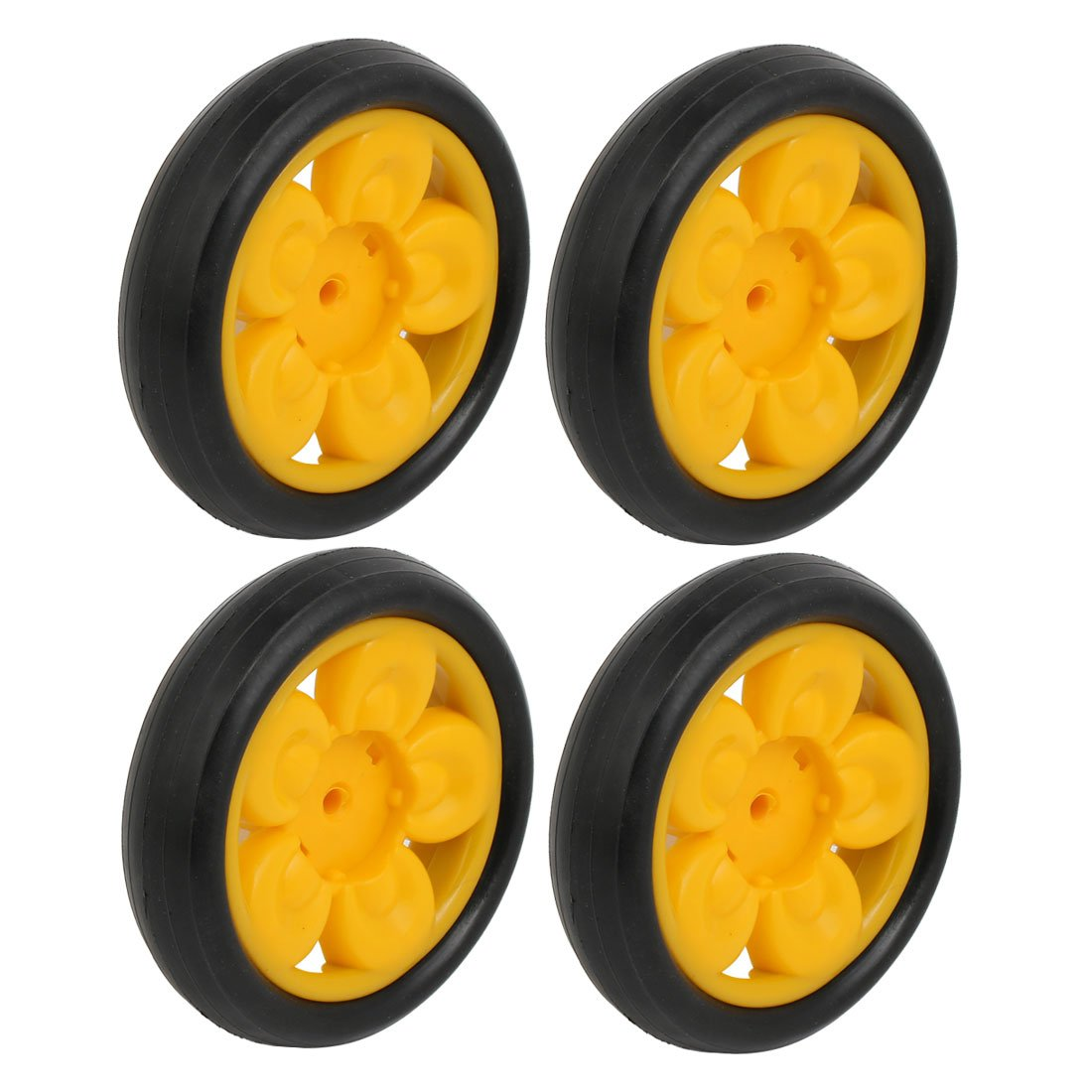 uxcell 110mm Dia Plastic Single Wheel Pulley Rolling Roller Black Yellow 4pcs