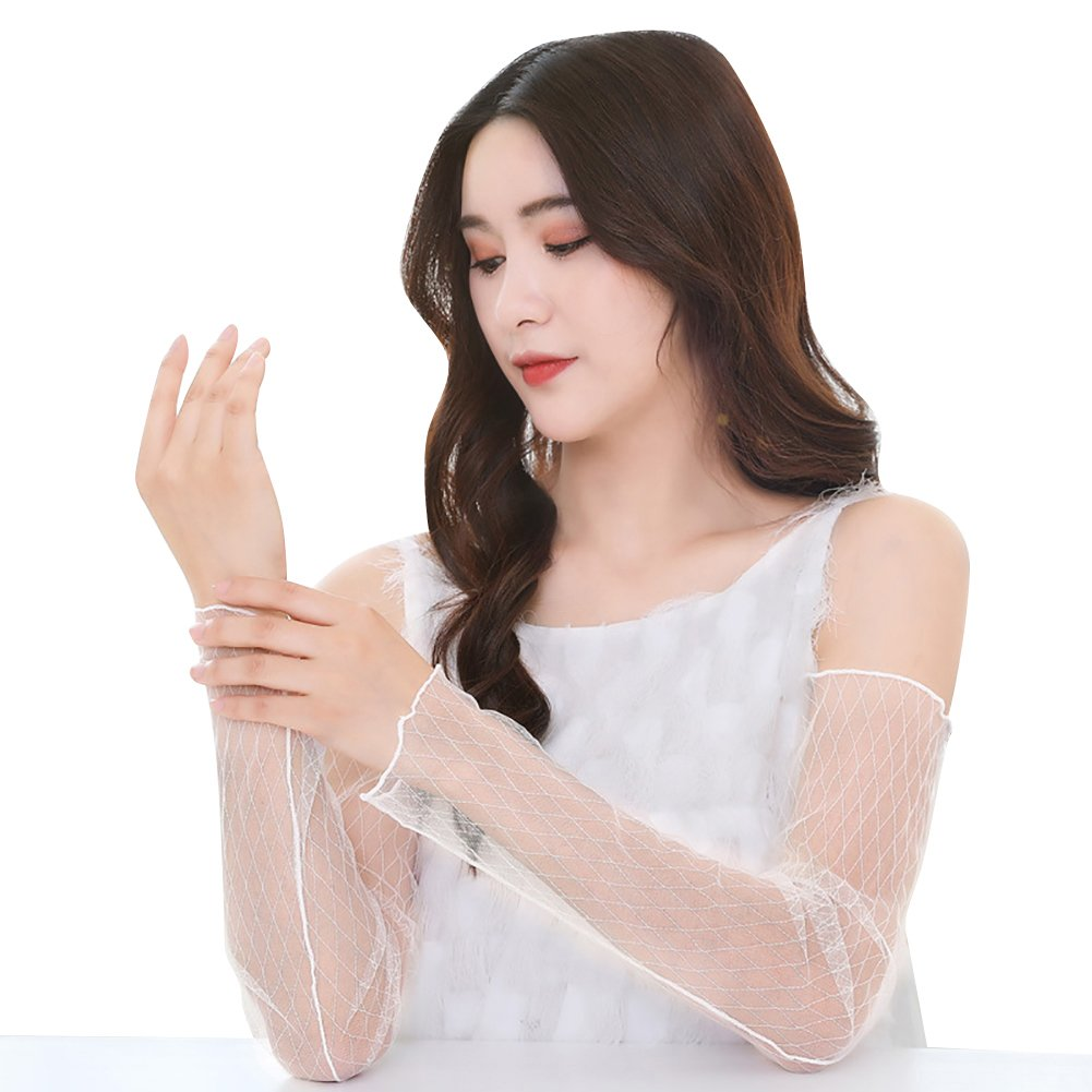 Meiyuan Women Long Super Thin Lace Gauze Arm Sleeves Outdoor Sports UV Sun Protection Cuff Cover