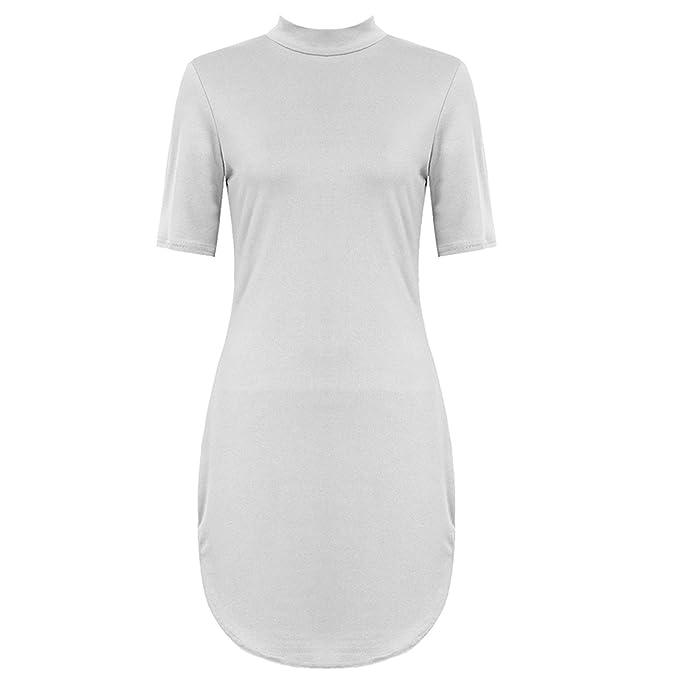 Fashion 4 weniger New Frauen Celebrity Style Kurve Saum Kurz Kleid Top. UK 8 –14: Amazon.de: Bekleidung