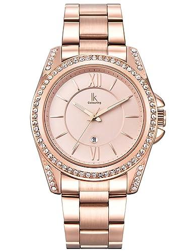 Alienwork Reloj Mujer Relojes Acero Inoxidable Oro Rosa Analógicos Cuarzo Calendario Fecha Impermeable Strass Elegante: Amazon.es: Relojes