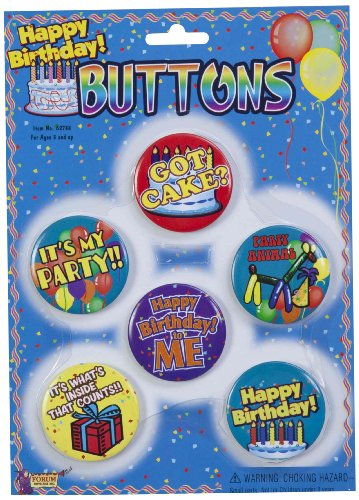 Forum Novelties Happy Birthday Buttons, Set of 6