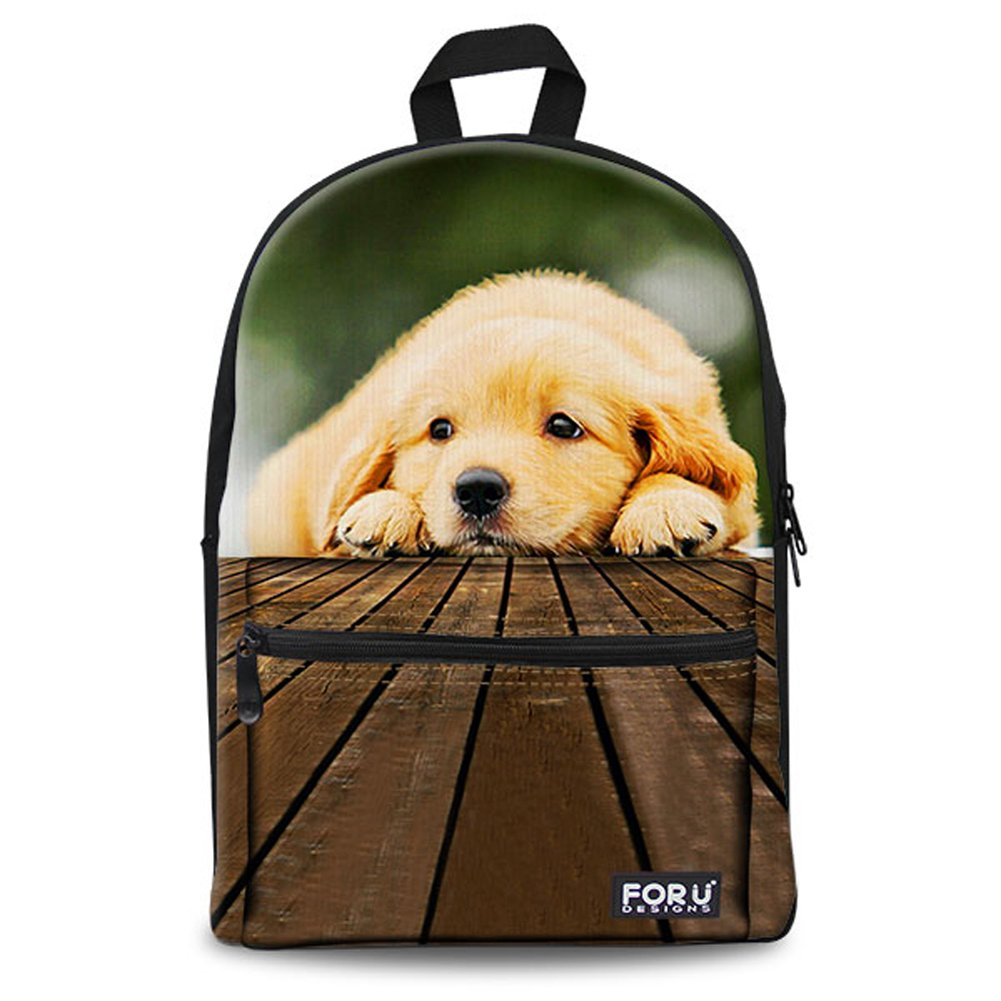 FOR U DESIGNS Cute Dog Printed Animal Backpack Soft Canvas School Book Bag for Teens