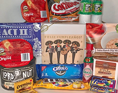 Feliz Cumpleanos Gift Box for Men and Women - Send Your Happy Birthday Wishes With These Spicy and Delicious Treats Today! (Send A Gift Basket Today)