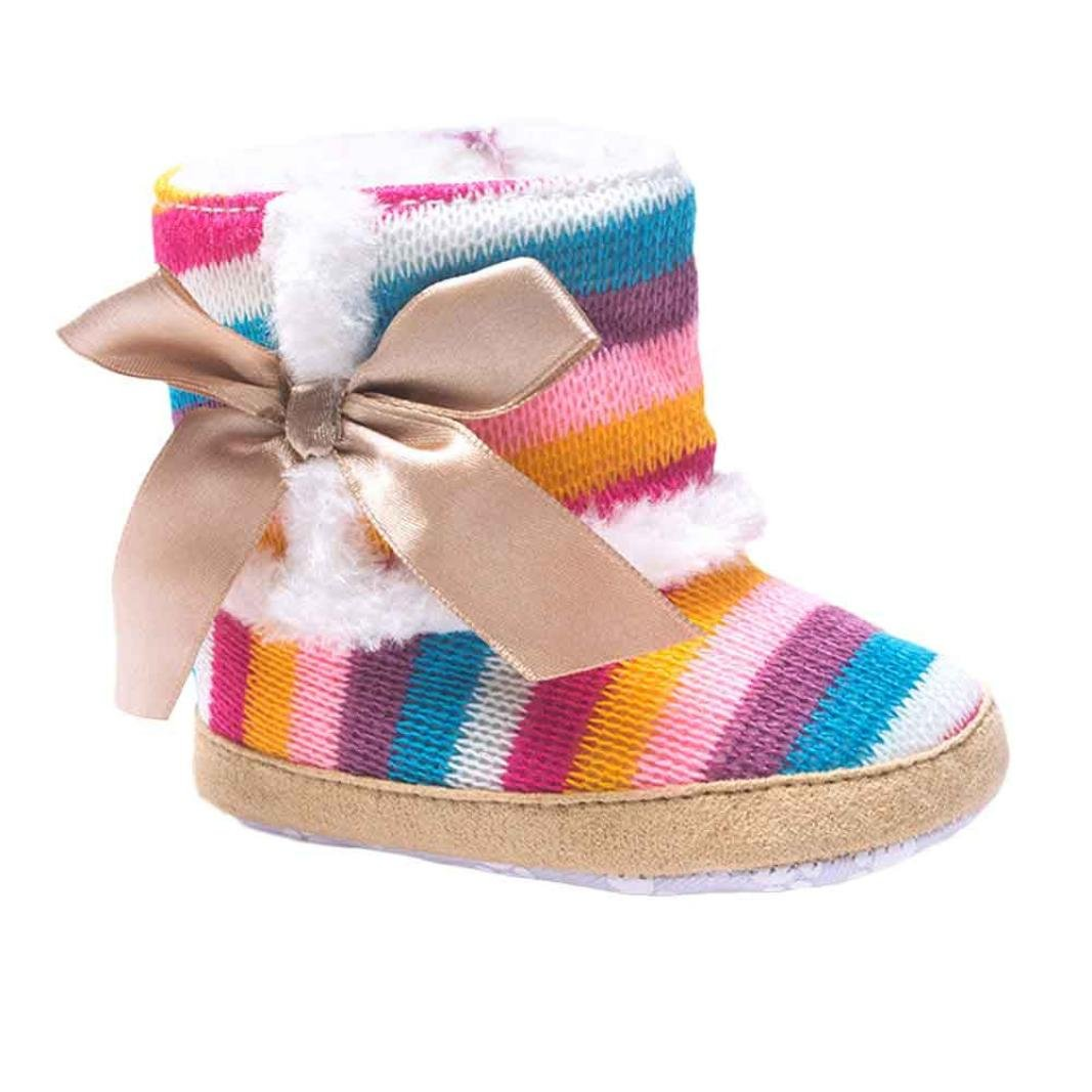 iumei Rainbow Baby Winter Keep Warm Soft Sole Snow Boots Newborn Anti-Slip Crib Shoes