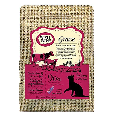 Wishbone Graze Grain and Gluten Free Cat Food, Made from New Zealand Beef Cat Food, All Natural Dry Cat Food, High Protein, Vitamins, Minerals and Taurine Dry Cat Food, for All Cat Life Stages