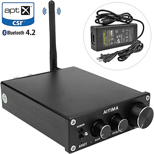 AIYIMA TPA3116 HiFi Stereo Audio Amplifier with Bluetooth 4.2 2.0 CH Class D Integrated Digital Amp with Bass and Treble Control Power Supply Black