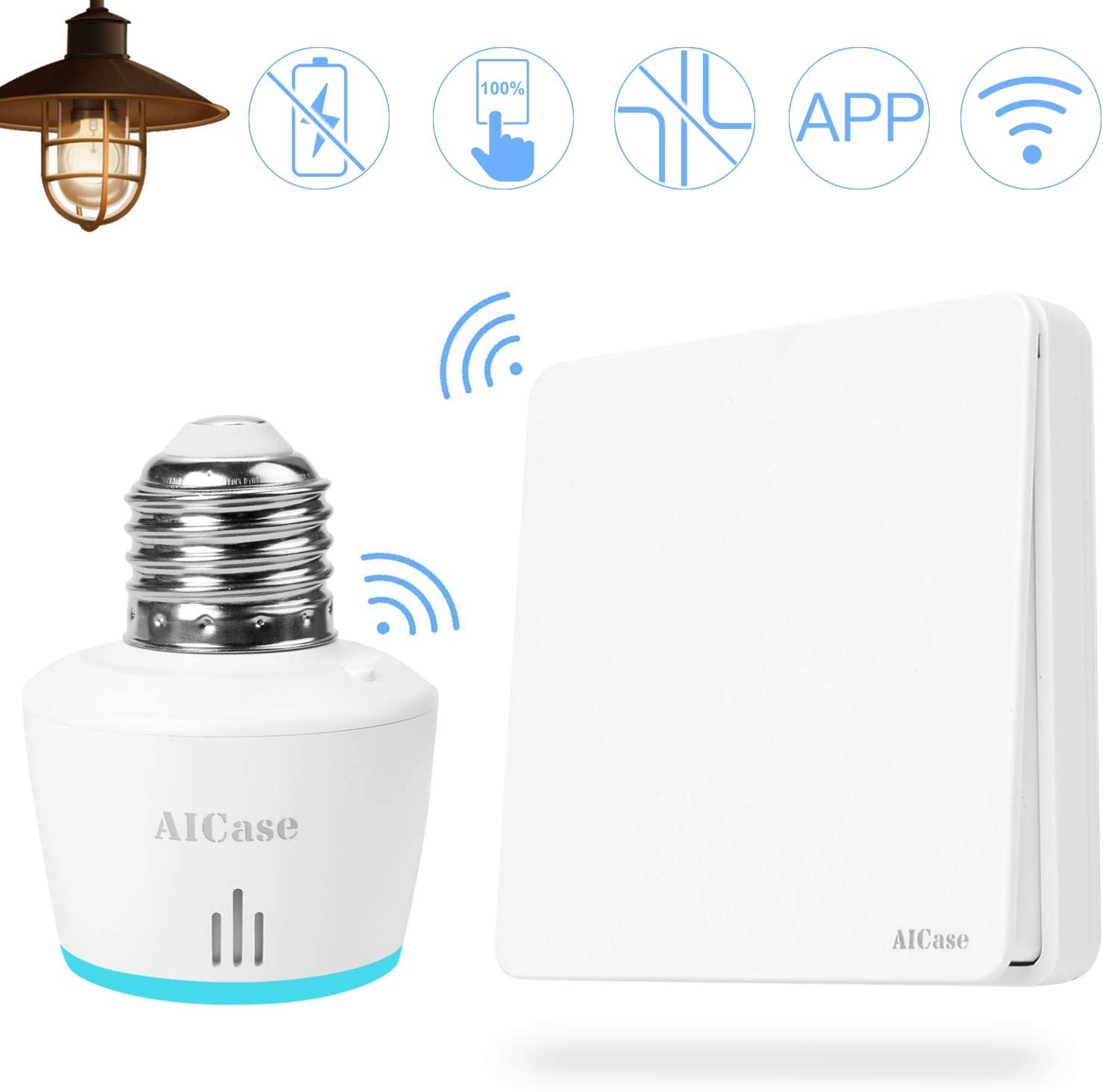 Smart WiFi E27 Light Socket with Wireless Smart Light Switch,AICase Intelligent WLAN Home Remote Control Light Lamp Bulb Holder Works with Alexa and Timing Function-White (with wifi)