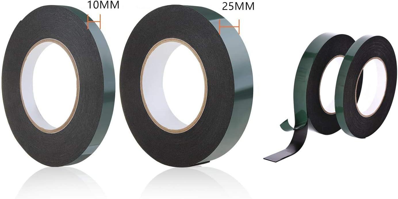 20 Metri Nastro Biadesivo in Schiuma Nera Rotoli di Nastro Impermeabili per Montaggio su auto per Targhette con Bordi per Auto,2 Rotoli 10 mm x 10 m,25 mm x 10 m