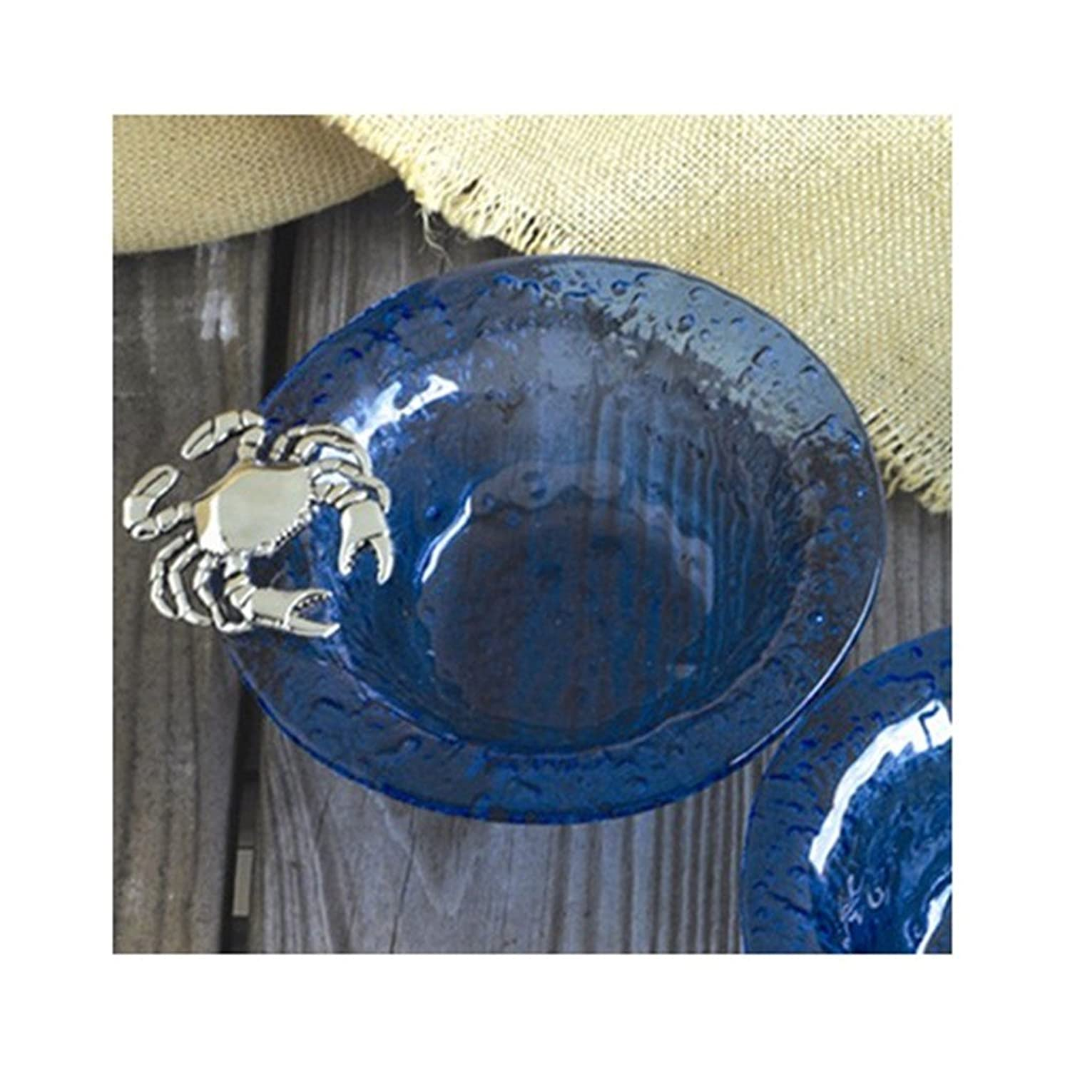 Coastal Christmas Tablescape Décor - Classic blue glass crab condiment bowl by Jewelry Adviser Gifts