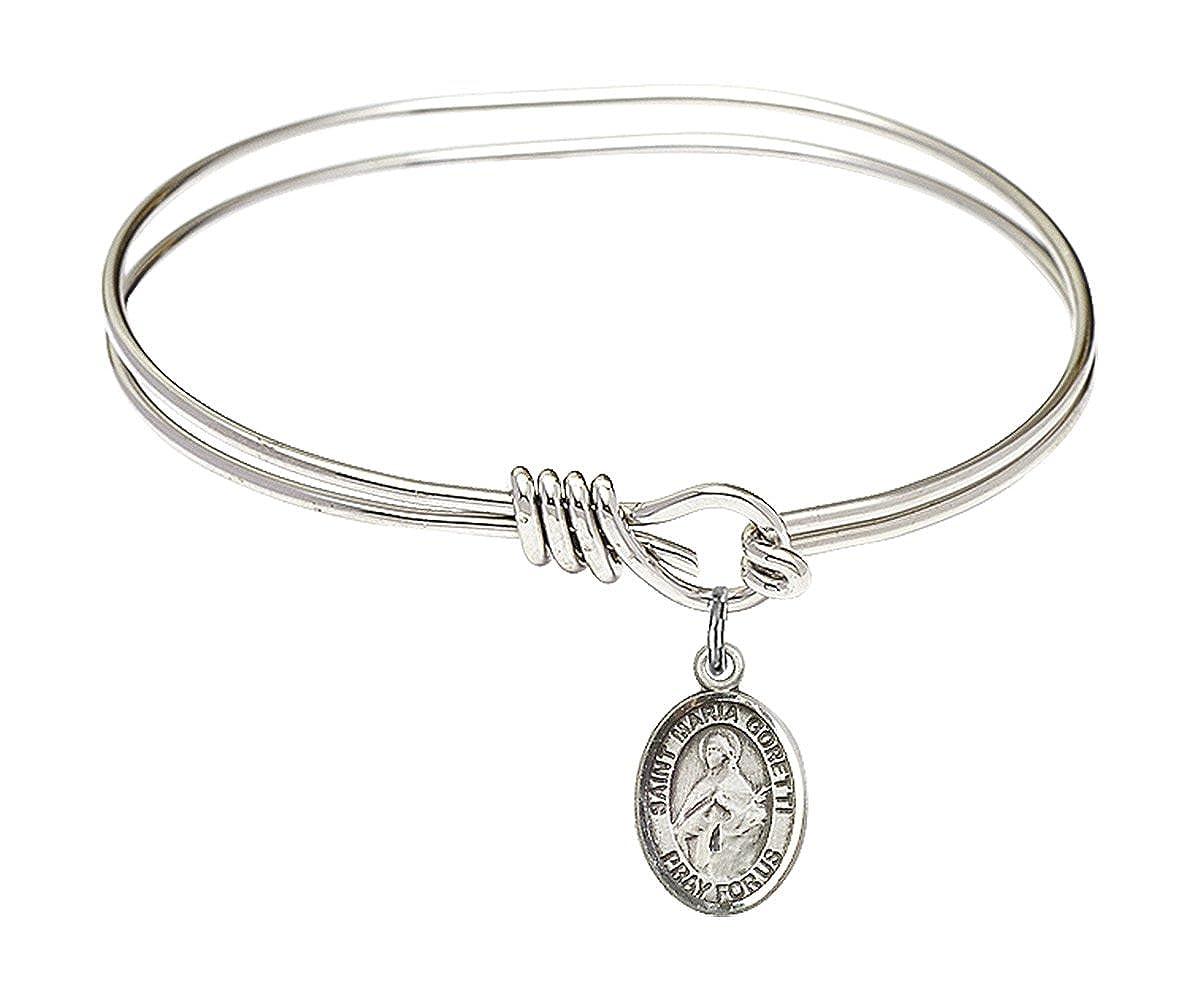 DiamondJewelryNY Eye Hook Bangle Bracelet with a St Maria Goretti Charm.