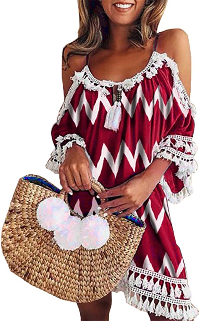 Womens Dresses Summer Halter Cold Shoulder Cute V Neck Boho Beach Loose Casual Tassel Dress