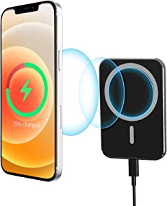 HATALKIN Magnetic Wireless Car Charger Vent Mount for Mag-Safe Mag Safe Case iPhone 12/12 Pro/Pro Max/Mini Magnet Phone Holder Stand 15W Fast Wireless Charging Car Mount Air Vent Charger(Dark Black)