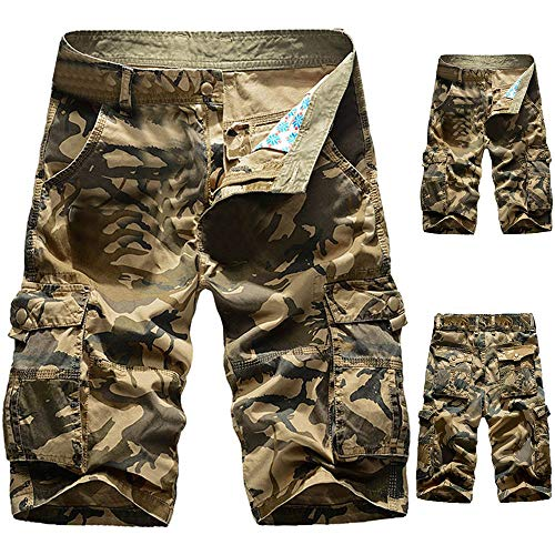 Hmlai Clearance Men's Casual Big and Tall Slim Fit Outdoors Workout Lightweight Multi Pocket Beach Camo Cargo Shorts Pant (44, Khaki) ()