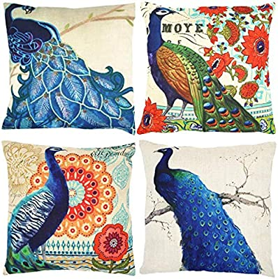 Amazon Com Peacock Decorative Throw Pillow Covers 18 X 18 Inch Set Of 4 Zuext Home Decor Throw Pillowcase Square Cotton Linen Cushion Cover Pillow Cases For Couch Sofa Bed Car Animal Pattern For