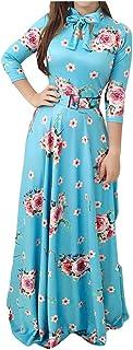 OHQ Femme Fille Madame Robe Noeud Papillon Imprimé Taille Grande pour Femmes 'Maxi Dress Jupe Bleues Plus Size Fashion Tie Imprimer à Manches Longues Party Maxi Longue Cocktail