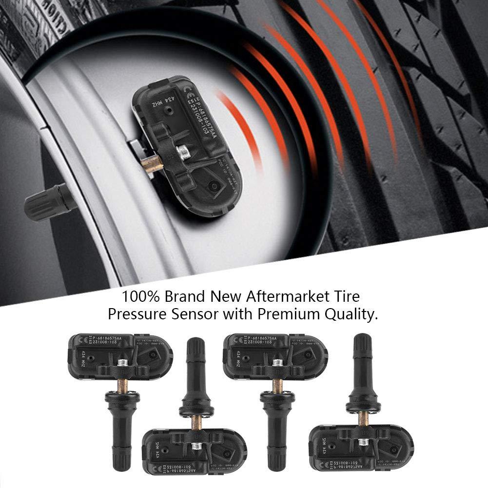4pcs Capteur de Pression sur Pneu Syst/ème de Surveillance de la Pression des Pneus de voiture Capteur de Pression des Pneus TPMS 68239720AA 68186575AA