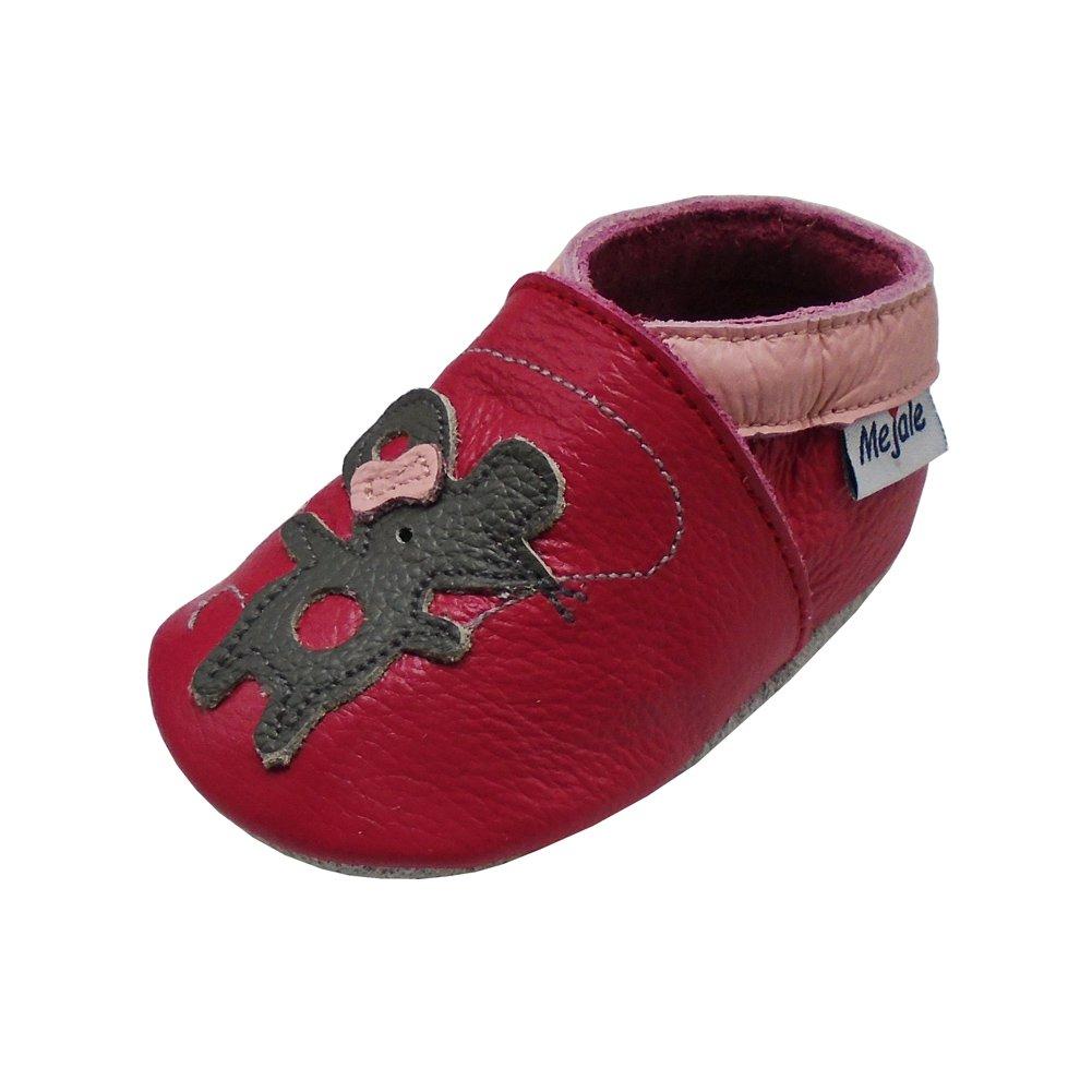 Mejale Baby Shoes Soft Sole Leather Moccasins Cartoon Mouse Infant Toddler Pre-Walker