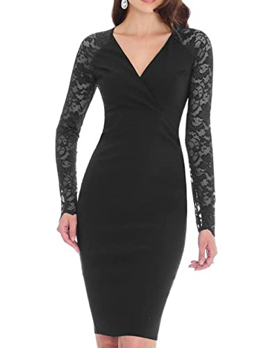 REPHYLLIS Women's Vintage Long Sleeve Lace Business Pencil Dress