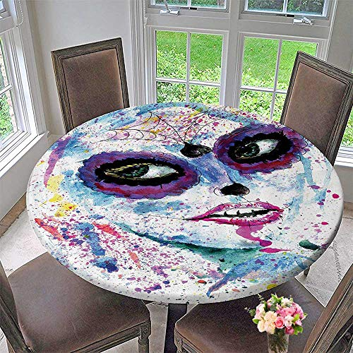 Mikihome Luxury Round Table Cloth for Home use Grunge Halloween Lady with Sugar Skull Make Up Creepy Dead Gothic Woman Artsy 31.5