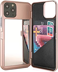 W7ETBEN iPhone 11 Pro Case,Hidden Back Mirror Wallet Case with Stand Feature and Card Holder for Apple iPhone 11 Pro (2019) 5.8 inch (Rose Gold)