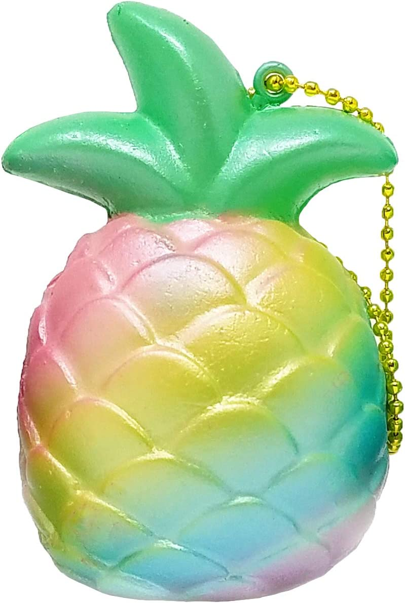 ibloom Cutie Pineapple Fruits Slow Rising Squishy Toy Keychain (Rainbow, 3 Inch) Birthday Gift Boxes, Party Favors, Stress Balls, Prop Decoration, Pretend Play for Kids, Boys, Girls, Adults