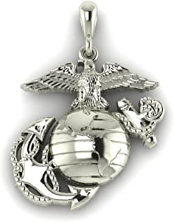 product image for 14K White 3/4 Inch Marine Corps Eagle Globe and Anchor Pendant