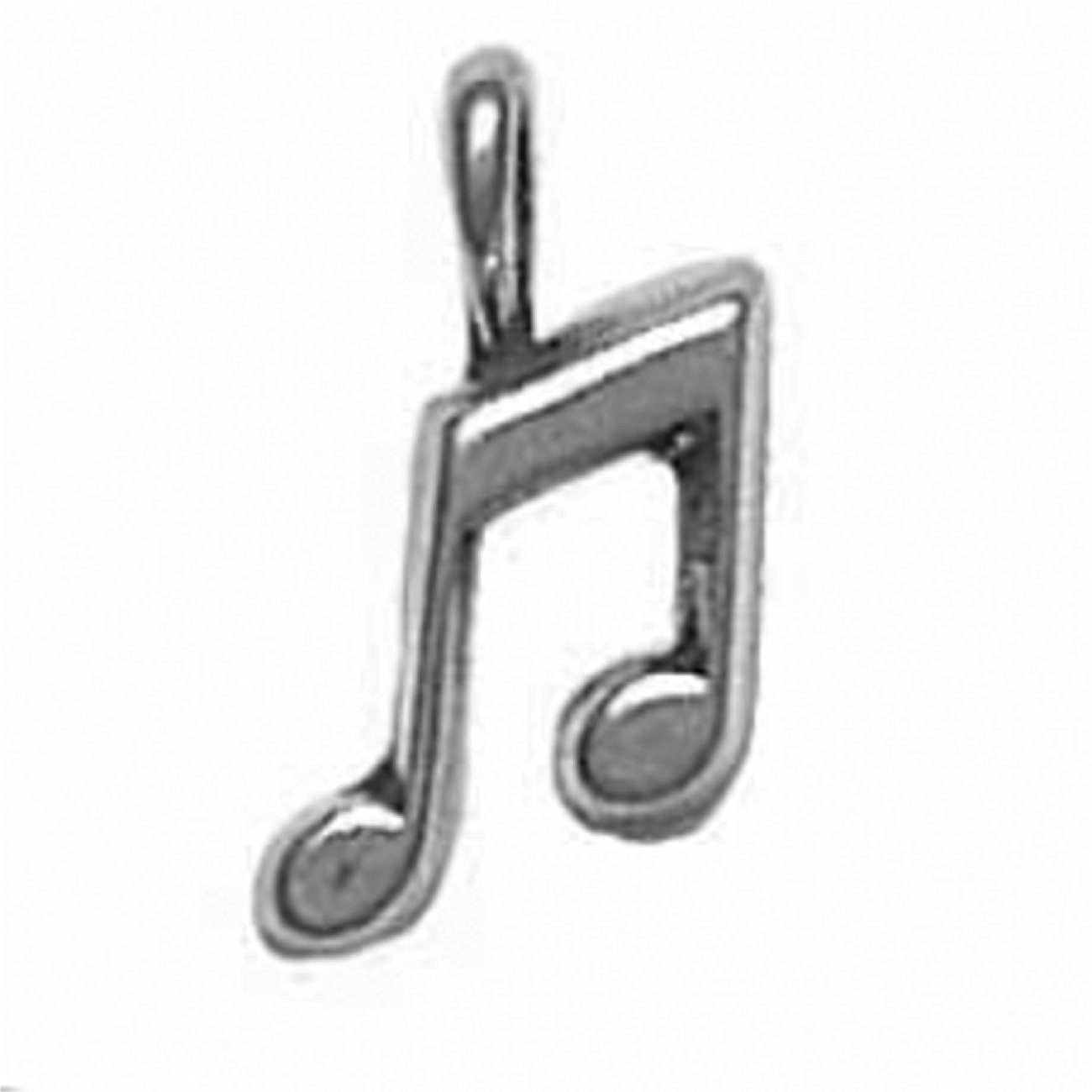 Sterling Silver 3D Small Musical Eighth Note Charm
