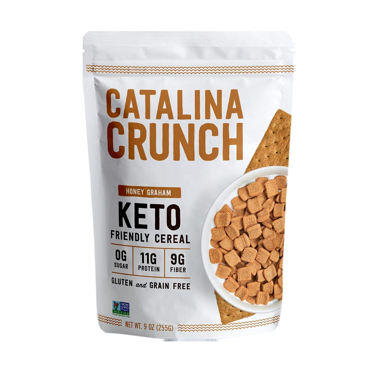 Catalina Crunch Honey Graham Keto Cereal (9oz Bags) | Low Carb, Sugar Free, Gluten Free, Grain Free | Keto Snacks, Vegan, Paleo, Plant Based | Breakfast Cereals | Keto Friendly Food
