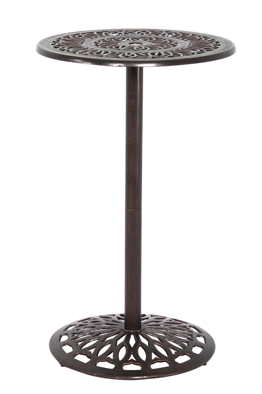HOMEFUN Outdoor Bar Height Table Bistro Pub Table Cast Aluminum High Round Top Patio Bar Table (Stools not Included)