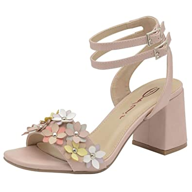 c81296fd809 Dolcis Ladies Naimh Pink Block Heel Ankle Peep-Toe Sandals Strappy Shoes  Sizes 3-