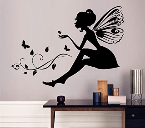 Amazon.com: Wall Decals Removable DIY Flower Fairy Girl Wall ...