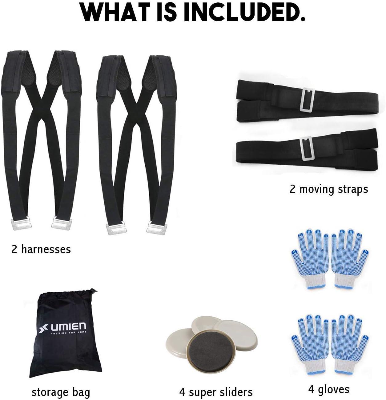 materiales de construcci/ón u otras correas de transporte pesadas y voluminosas con guantes colchones Correas de elevaci/ón y movimiento ajustables de 2 paquetes para muebles cajas