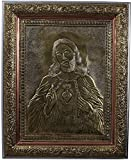 Kapasi Handicrafts Lord Jesus Christ/Lamb of God/Christ of God Embossed On Brass Oxidise Standing Wall Hanging Photo Frame (33L X 40H) CM Antique Finish Indian Home Decor Art Piece