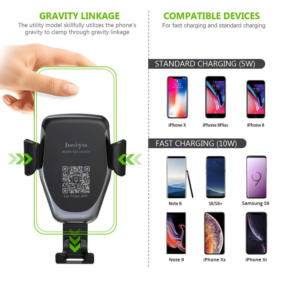Samsung Galaxy Todo Qi Habilitado Smartphone Heiyo Cargador Inal/ámbrico Coche R/ápida Cargador de Coche Aplicable a Rejillas del Aire para iPhone X//XS//XR iPhone 8//8 Plus 10W Qi Cargador Wireless